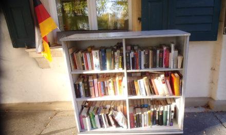 Bücherschrank im Park der Stadt Nierstein auch im Herbst/ Winter offen