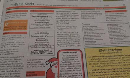 "<span class=""entry-title-primary"">Kleinanzeigen</span> <span class=""entry-subtitle"">vom 14. Dezember 2020 bis 03. Januar 2021</span>"