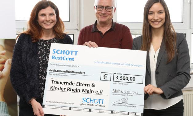 """<span class=""""entry-title-primary"""">Rest Cent Aktion von Schott</span> <span class=""""entry-subtitle"""">Scheckübergabe an den Verein Trauernde Eltern und Kinder</span>"""