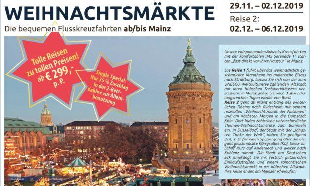 """<span class=""""entry-title-primary"""">Die bequemen Flußkreuzfahrten ab/bis Mainz</span> <span class=""""entry-subtitle"""">Winterromantik und stimmungsvolle Weihnachtsmärkte</span>"""