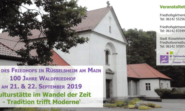 """<span class=""""entry-title-primary"""">3. Tag des Friedhofs in Rüsselsheim am Main</span> <span class=""""entry-subtitle"""">100 Jahre Waldfriedhof</span>"""