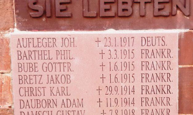 """<span class=""""entry-title-primary"""">Mahnmal an der ev. Kirche in Ginsheim</span> <span class=""""entry-subtitle"""">Neue Namenstafel für die Gefallenen des 1. Weltkrieges</span>"""