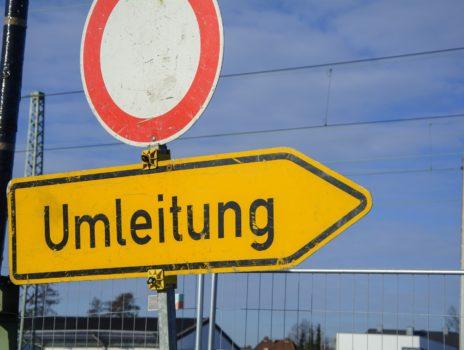 Straßenbauarbeiten in der Rheinallee