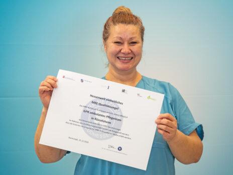 Auch das GPR Ambulante Pflegeteam Rüsselsheim erhält das MRE-Qualitätssiegel