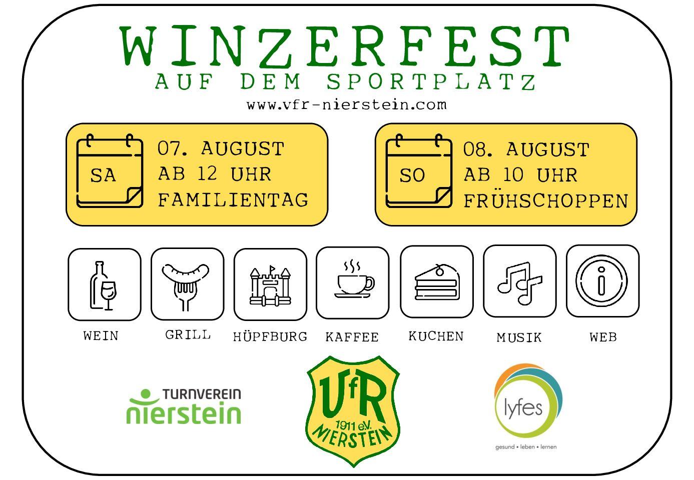 """<span class=""""entry-title-primary"""">Winzerfest beim VFR Nierstein</span> <span class=""""entry-subtitle"""">Am 7. und 8. August gemeinsam mit dem TV Nierstein und der Firma Lyfes</span>"""