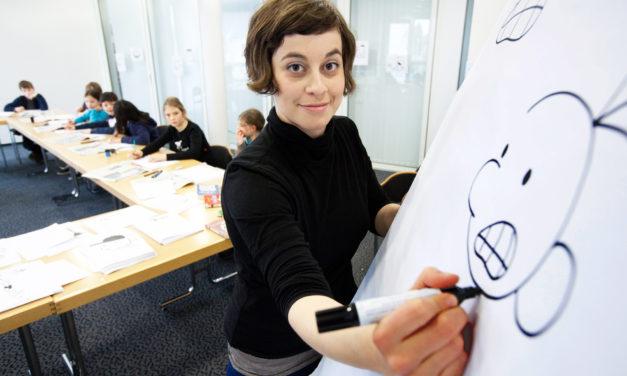 """<span class=""""entry-title-primary"""">Schritt für Schritt zu Greg</span> <span class=""""entry-subtitle"""">Charlotte Hofmann Kindern, wie die Comicfigur entsteht</span>"""